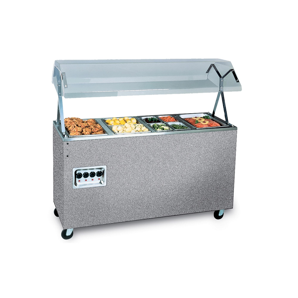 "Vollrath 38730 4-Well Hot Food Station - Breath Guard, Solid Base, 60x24x57"" Granite 120v"