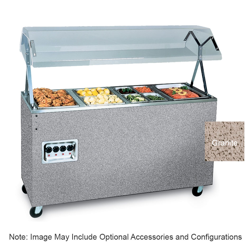 """Vollrath 387312 4-Well Hot Food Station - Breath Guard, Open Base, 60x24x57"""" Granite 208-240v"""