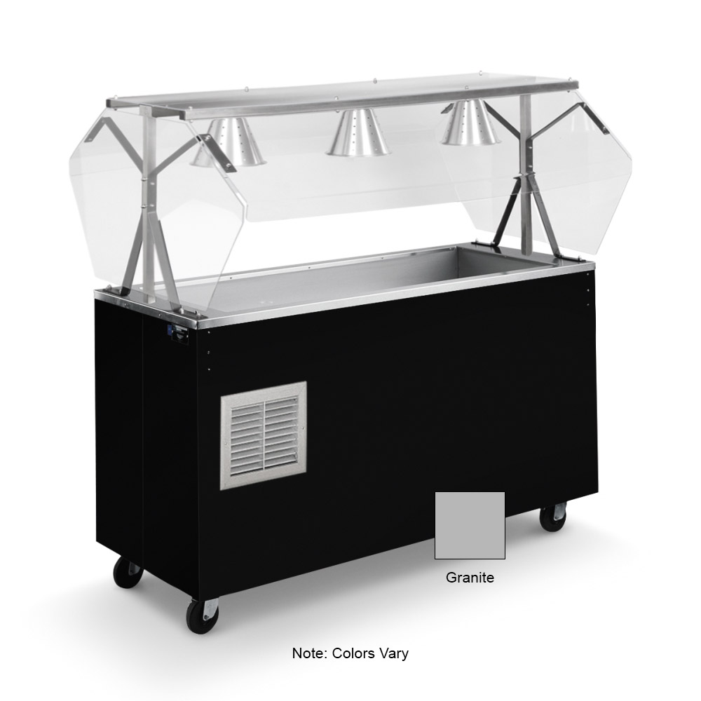 Vollrath 38735 3-Well Cold Food Station - Breath Guard, Non-Refrigerated, Granite Storage Base