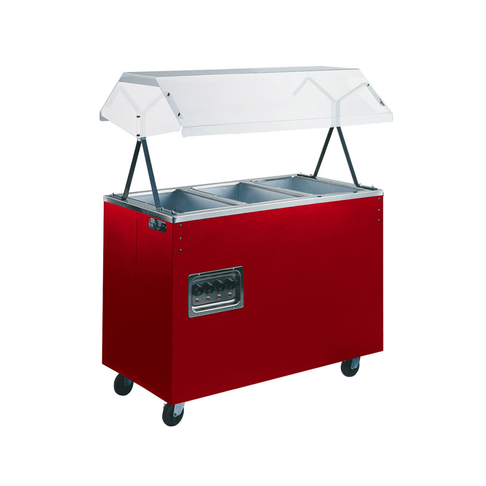 Vollrath 38767 3-Well Hot Food Station - Breath Guard, Solid Base, Cherry 120v