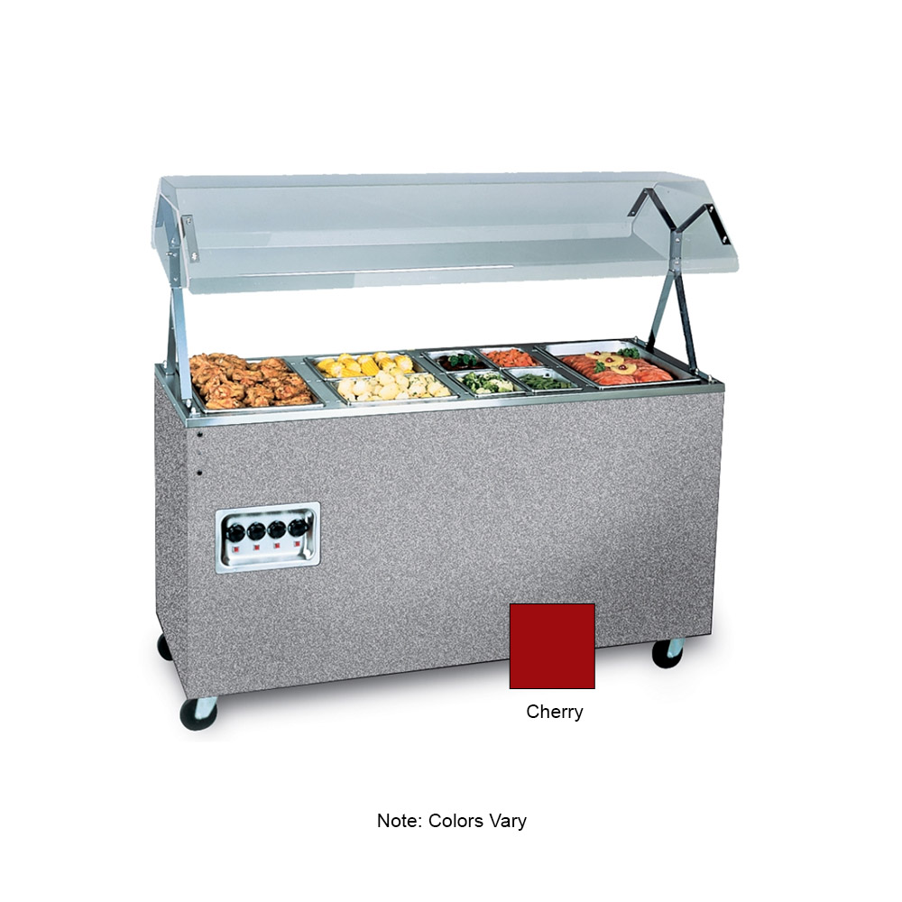 "Vollrath 38770 4-Well Hot Food Station - Breath Guard, Solid Base, 60x24x57"" Cherry 120v"
