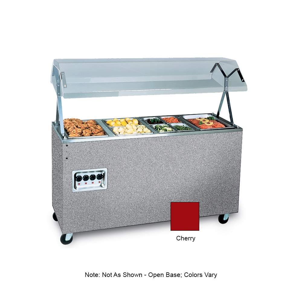 """Vollrath 38771 4-Well Hot Food Station - Breath Guard, Open Base, 60x24x57"""" Cherry 120v"""