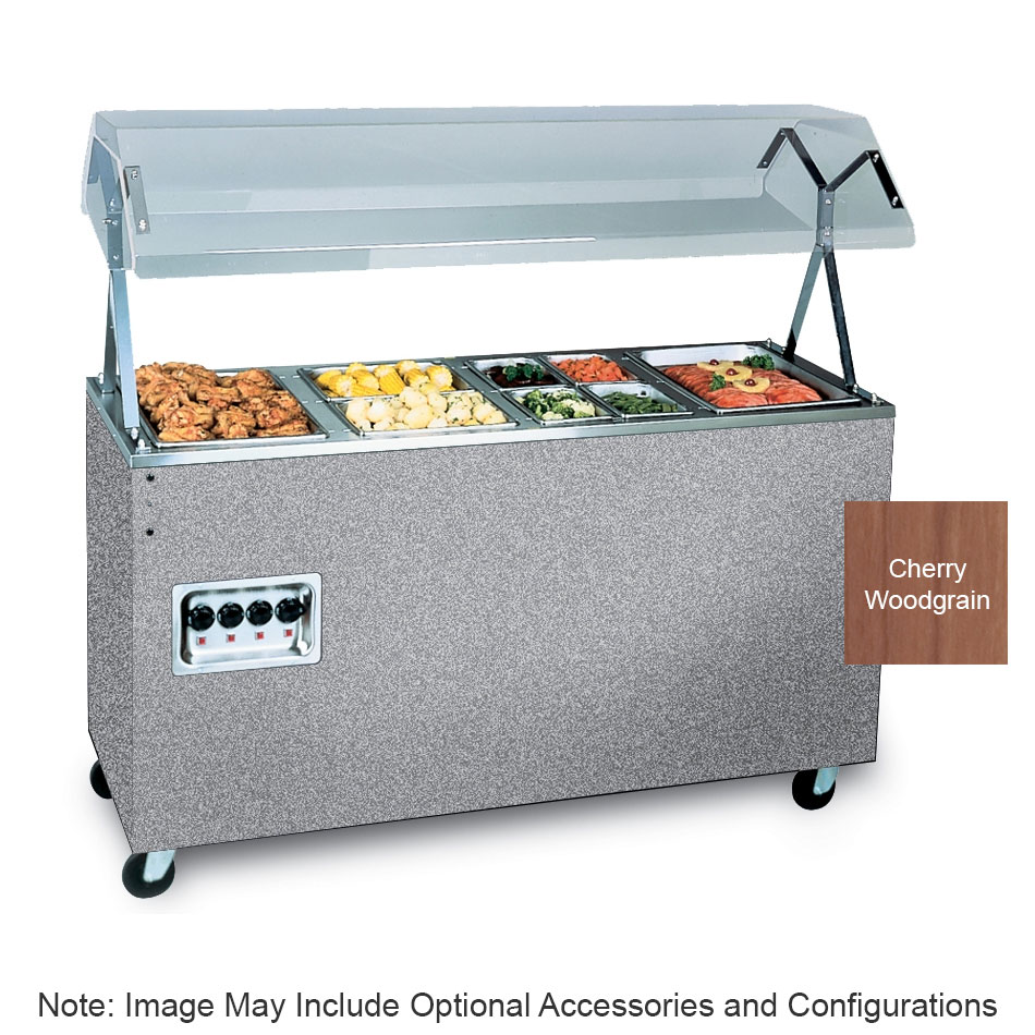 "Vollrath 387722 4-Well Hot Food Station - Breath Guard, Storage Base, 60x24x57"" Cherry 208-240v"