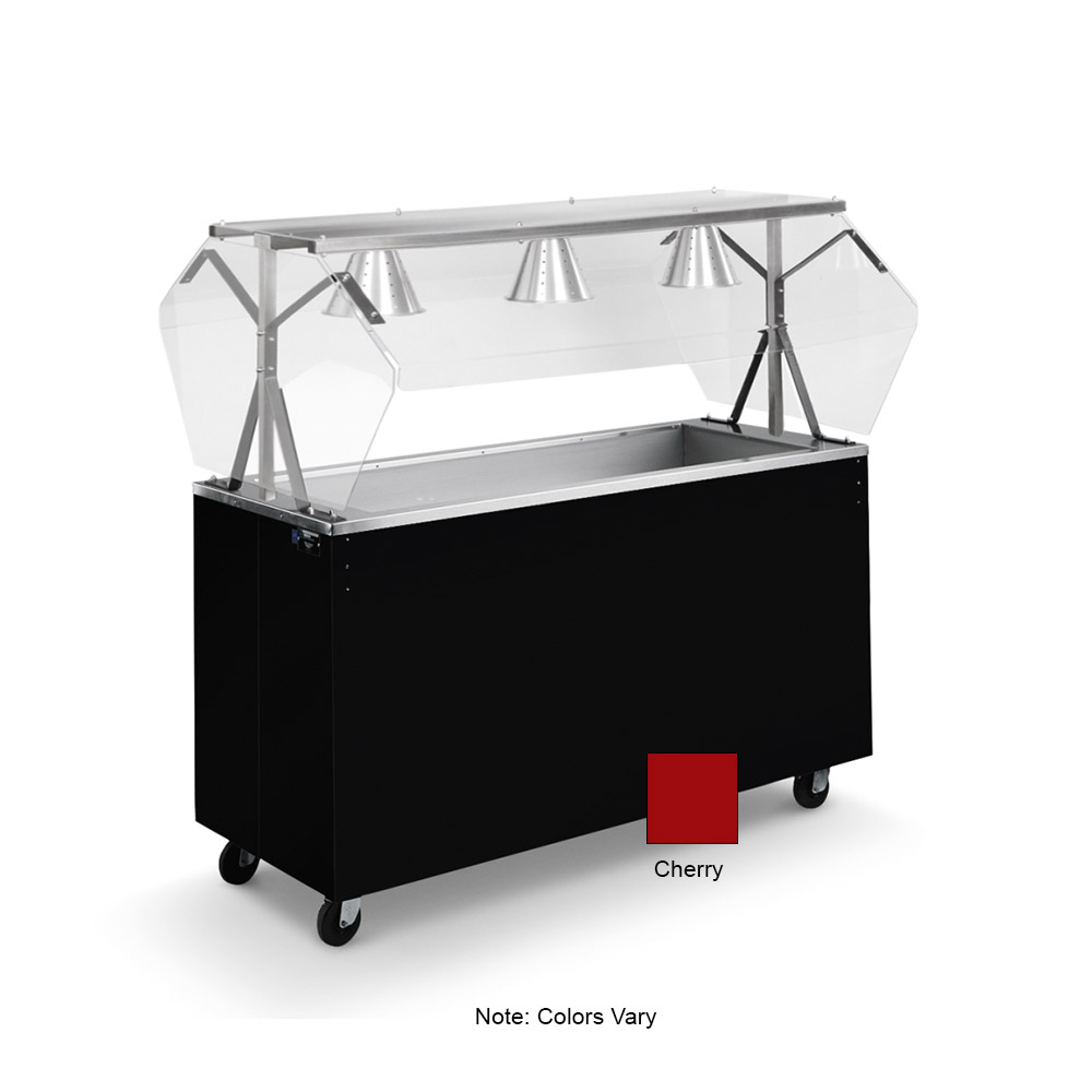Vollrath 38775 3-Well Cold Food Station - Breath Guard, Non-Refrigerated, Storage Base, Cherry