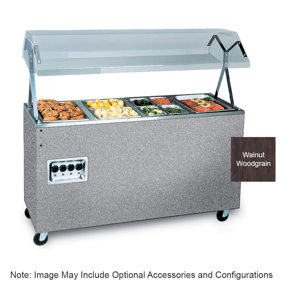 Vollrath 3893746 3-Well Hot Food Station - Lights, Breath Guard, Storage Base, Walnut 120v