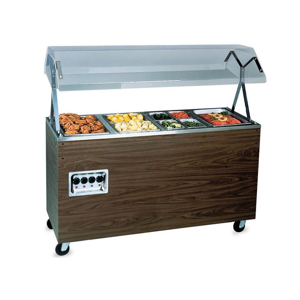 """Vollrath 38947 4-Well Hot Food Station - Breath Guard, Storage Base, 60x24x57"""" Walnut 120v"""