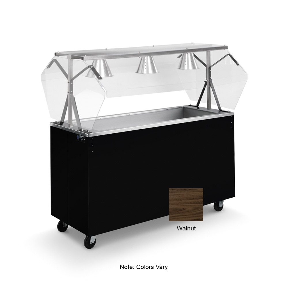 Vollrath 38952 3-Well Cold Food Station - Breath Guard, Non-Refrigerated, Storage Base, Walnut