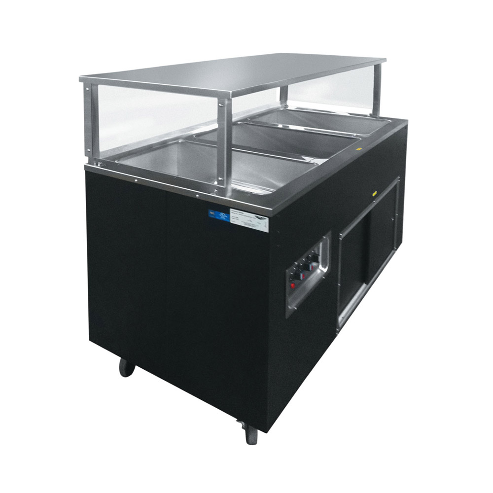 Vollrath 39707 3-Well Hot Cafeteria Unit - Solid Base, Black 120v