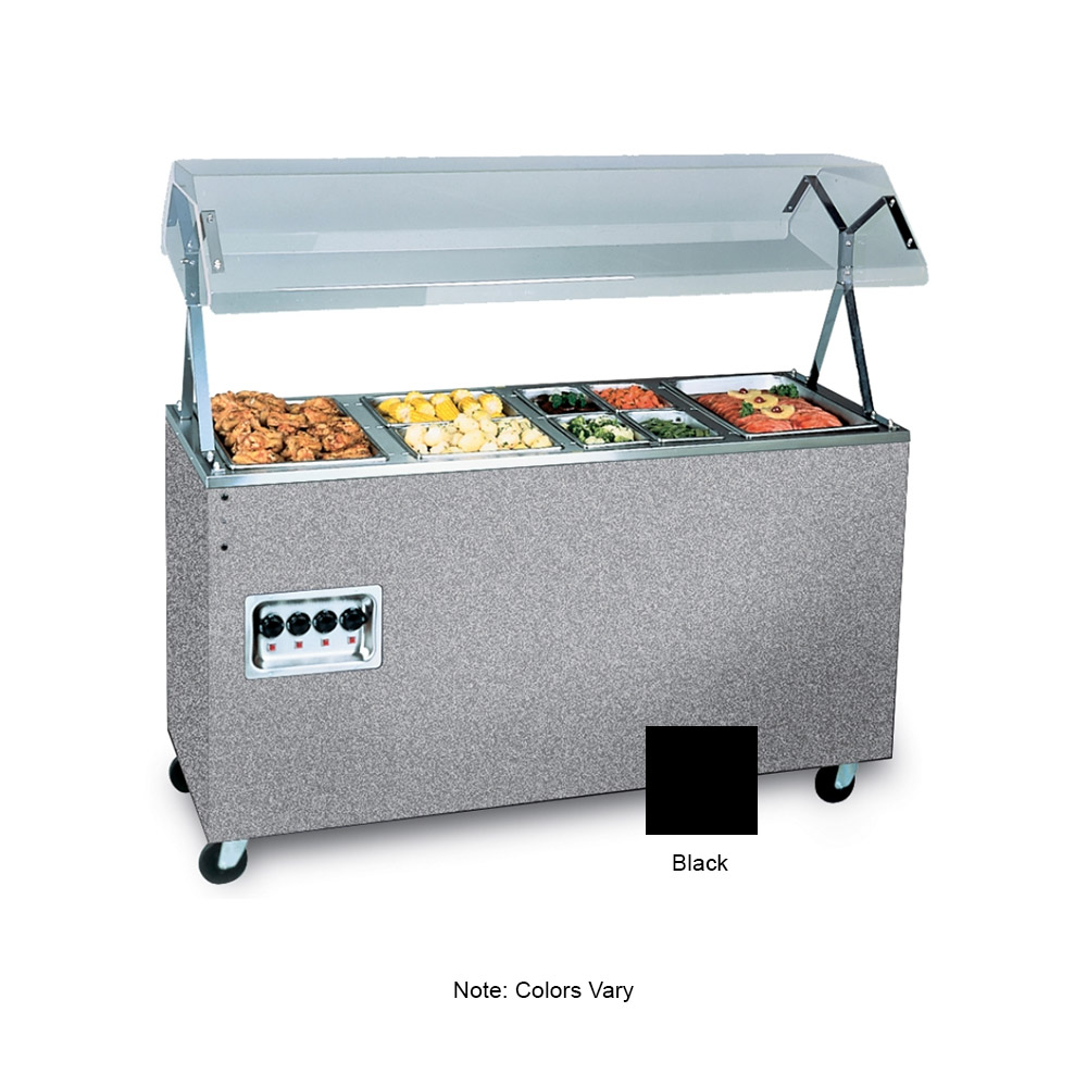 Vollrath 39710 4-Well Hot Cafeteria Unit - Solid Base, Black 120v
