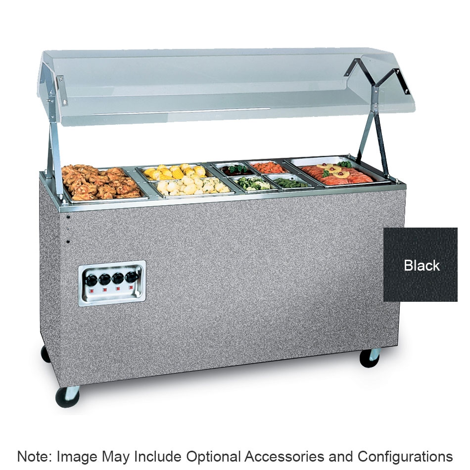 Vollrath 397112 4-Well Hot Cafeteria Unit - Open Base, Black 208-240v