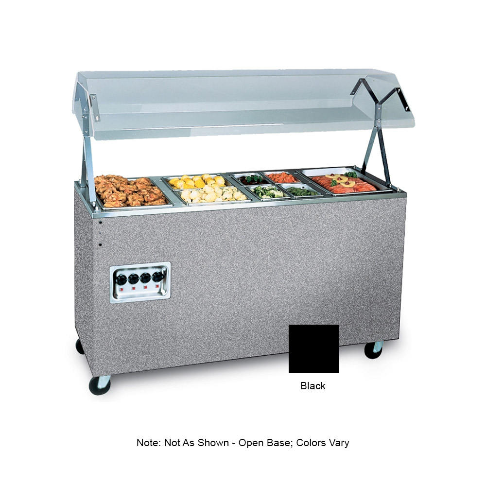 Vollrath 39711 4-Well Hot Cafeteria Unit - Open Base, Black 120v
