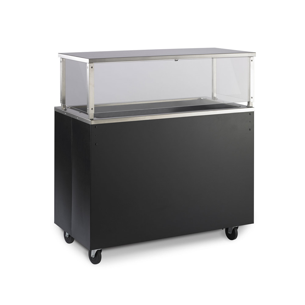 Vollrath 39718 4-Well Cold Cafeteria Unit - Non-Refrigerated, Storage Base, Black