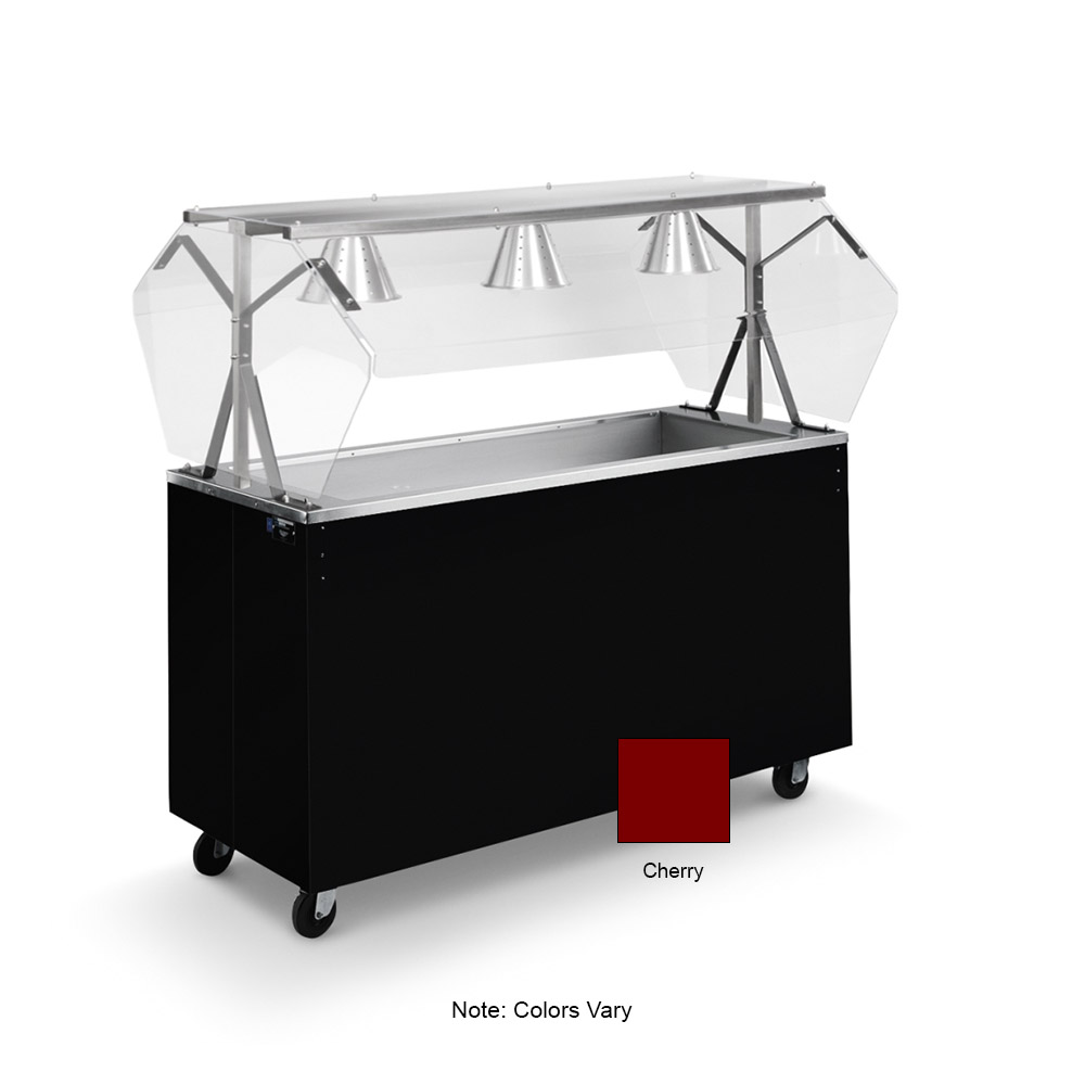 Vollrath 39773 3-Well Cold Cafeteria Unit - Non-Refrigerated, Solid Base, Cherry