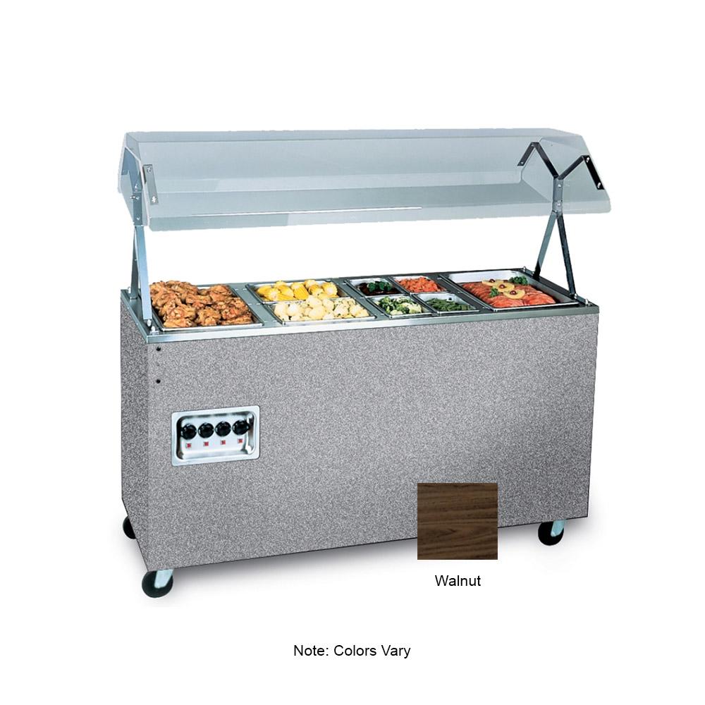 Vollrath 39948 4-Well Hot Cafeteria Unit - Storage Base, Walnut 120v