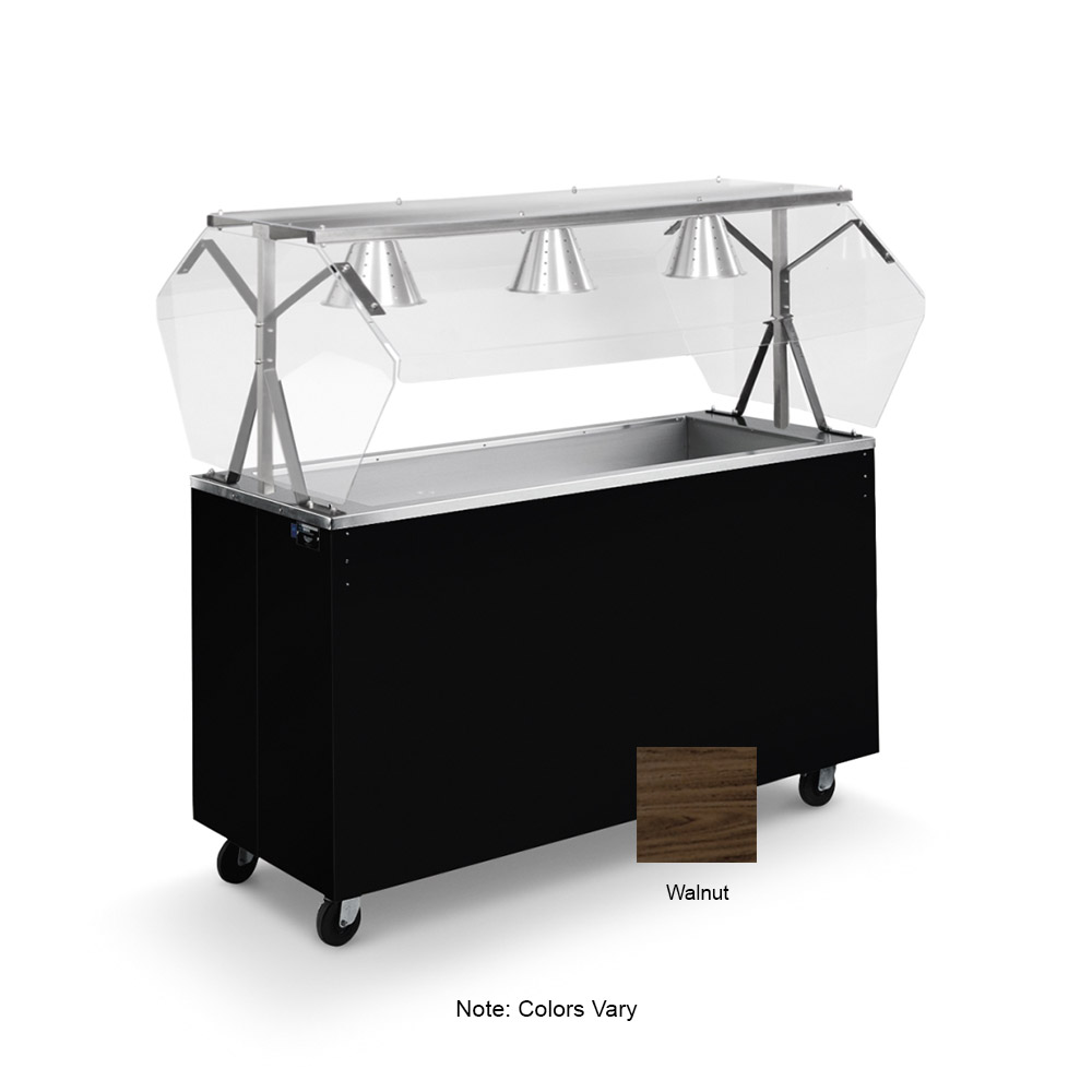 Vollrath 39950 3-Well Cold Cafeteria Unit - Non-Refrigerated, Solid Base, Walnut