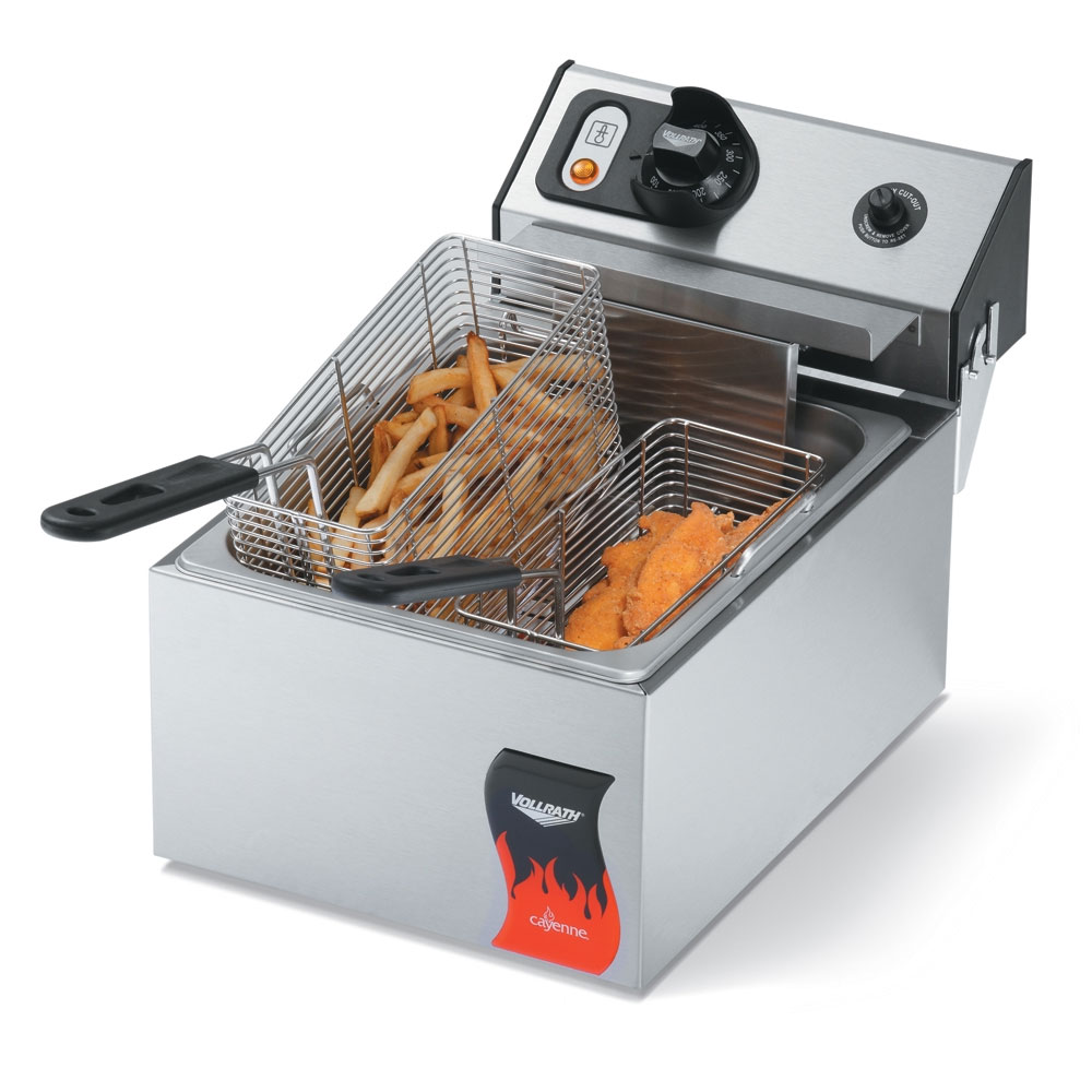 Vollrath 40706 Countertop Electric Fryer - (1) 10-lb Vat, 220v/1ph