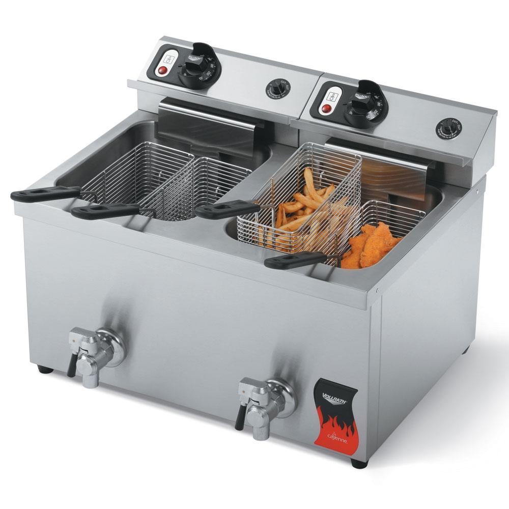 Vollrath 40710 Countertop Electric Fryer - (2) 15-lb Vat, 220v/1ph