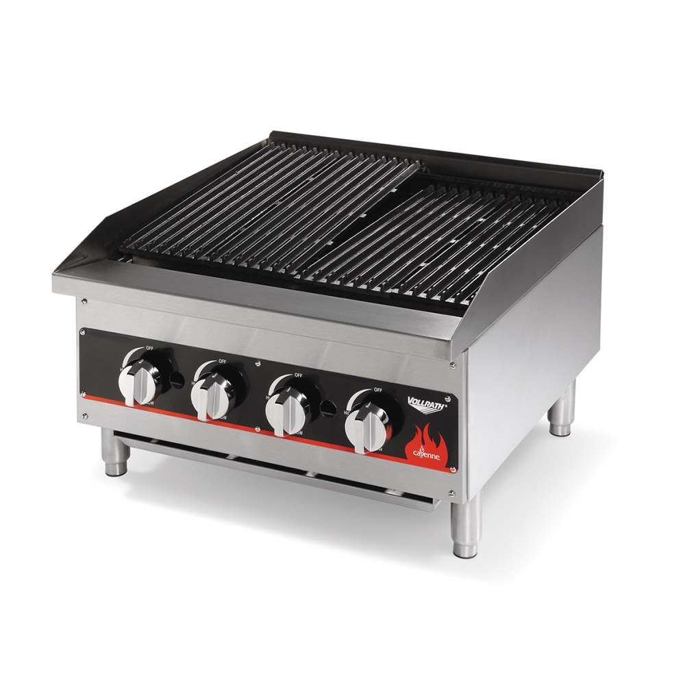 "Vollrath 407312 36"" Charbroiler - 6 Burners, Lava Rock, Stainless, 120,000 BTU"