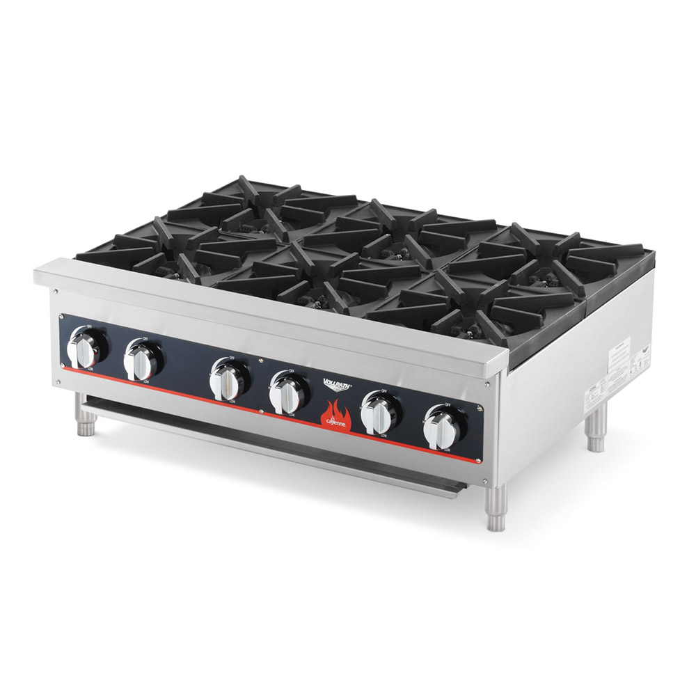 Vollrath 40738 Countertop Hot Plate 36 in x 27 in x10 in 6 Burners LP w/ NG Conversion Restaurant Supply