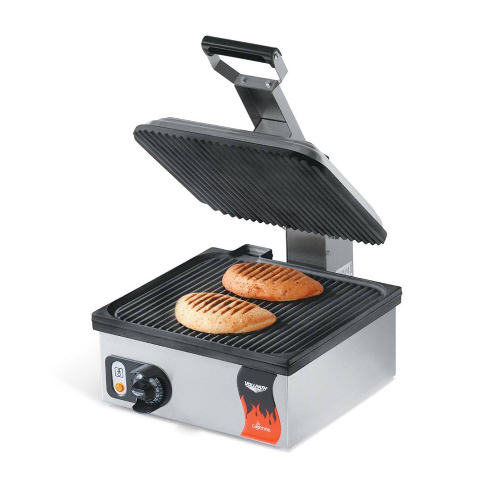 Vollrath 40790 Panini Sandwich Press - Grooved, Thermostat, Stainless 110v