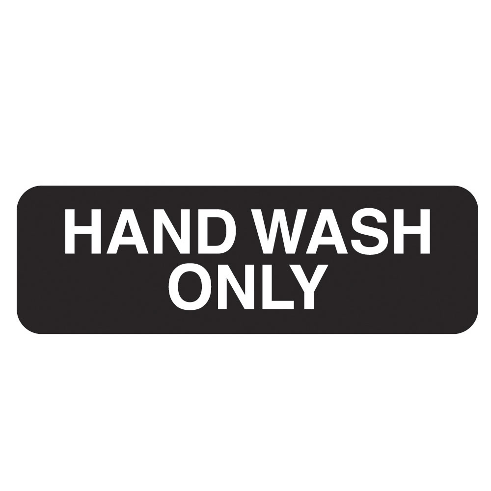"Vollrath 4504 Hand Wash Only Sign - 3x9"" White on Black"