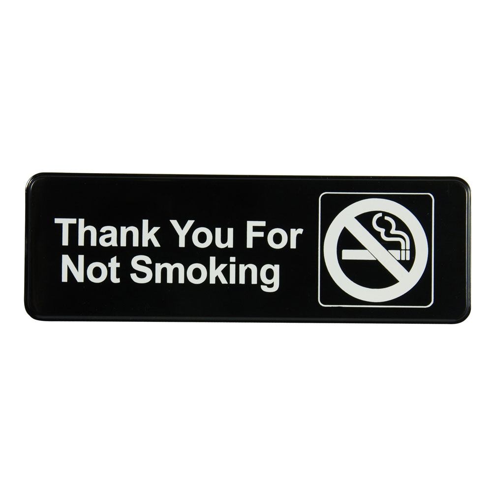 "Vollrath 4521 Thank You for Not Smoking Sign - 3x9"" White on Black"