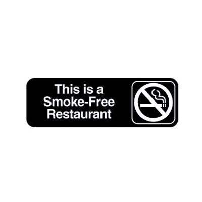 "Vollrath 4524 Smoke-Free Restaurant Sign - 3x9"" White on Black"
