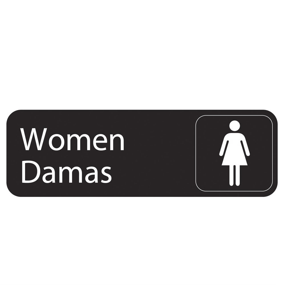 "Vollrath 4567 Women/Damas Sign  - 3x9"" White on Black"