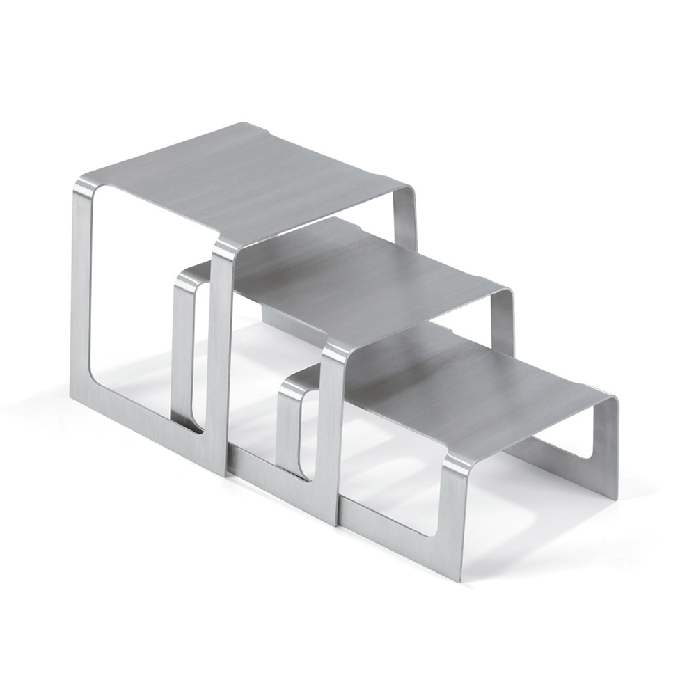 Vollrath 46009 Square Buffet Stand - Set of 3 Risers, Brushed Stainless