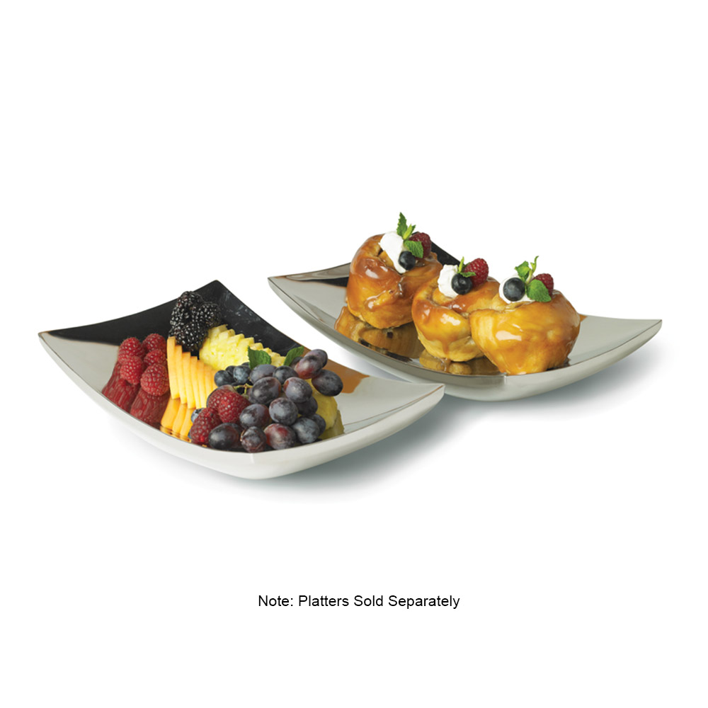 "Vollrath 46221 7-1/2"" Square Curved Double-Wall Platter - Stainless"