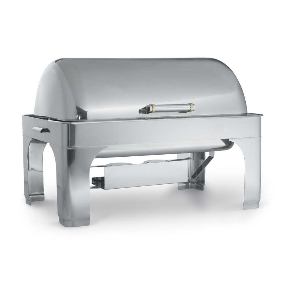 Vollrath 46255 9-qt Rectangular Chafer - Brass Trim, Dome Cover, Stainless