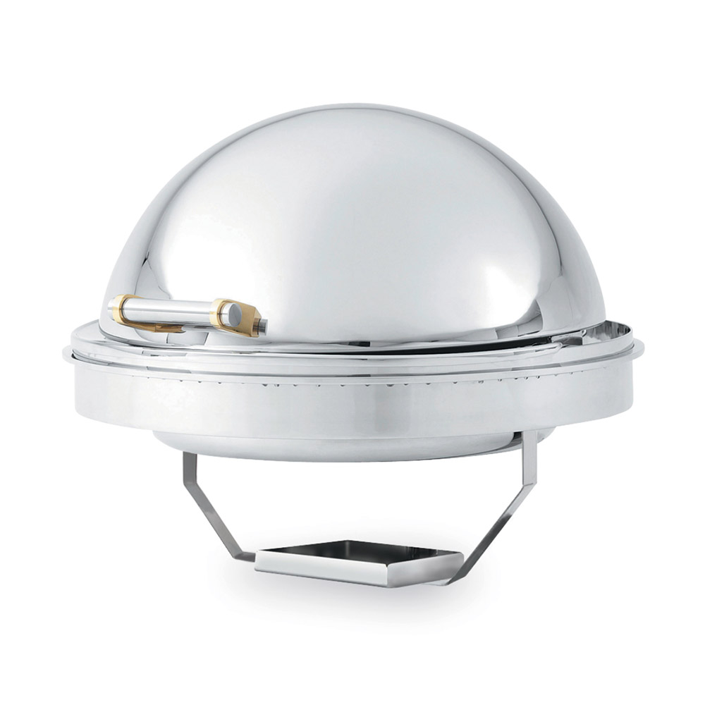 Vollrath 46268 6-qt Round Drop-In Chafer - Brass-Trim, Dome Cover, Stainless