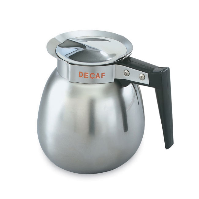 Vollrath 46580 2-qt Decaf Coffee Decanter - Black Plastic Handle, Mirror-Finish Stainless