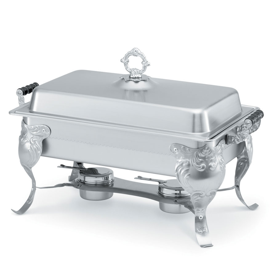 Vollrath 46880 9-qt Oblong Chafer with Stand - Wood Handles, Dome Cover, Stainless