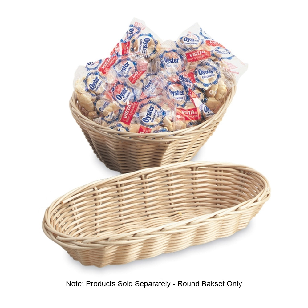 "Vollrath 47205 9"" Round Cracker Basket - Plastic Rattan, Tan"