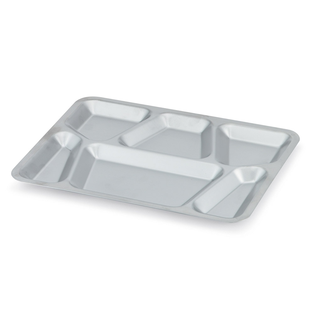 "Vollrath 47252 Six-Compartment Mess Tray with Lugs - 15-1/2x11-5/8"" Stainless"