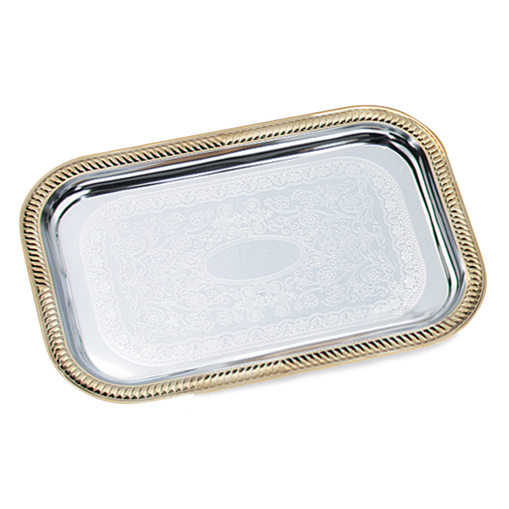"Vollrath 47260 Rectangular Serving Tray - Brass Accent, 18-1/4x12-1/3"" Chrome"