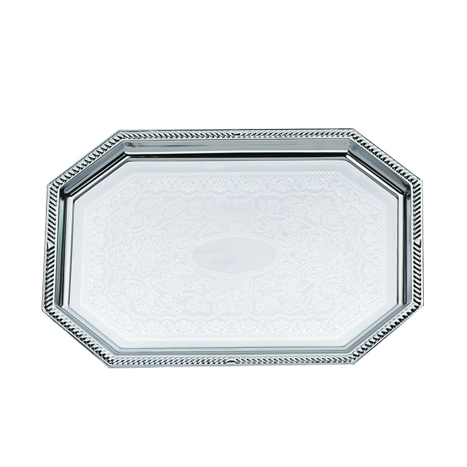 "Vollrath 47261 Octagon Serving Tray - Brass Accent, 17-1/8x10"" Chrome"