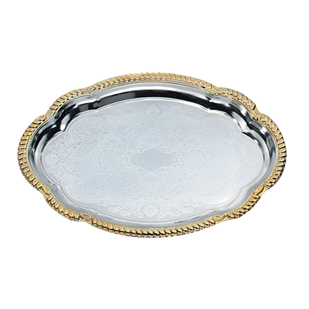 "Vollrath 47265 Oval Serving Tray - Brass Accent, 18-1/8x13"" Chrome"