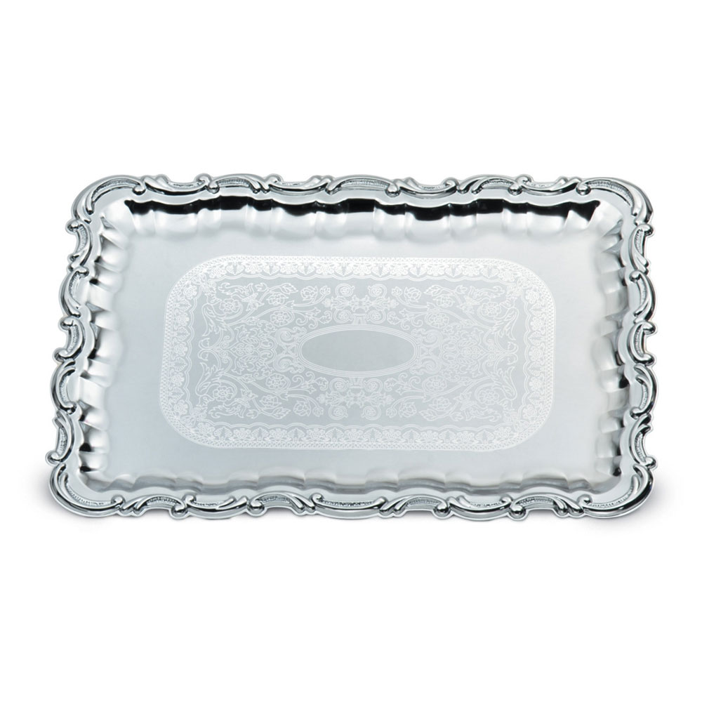 "Vollrath 47267 Rectangular Serving Tray - Victorian Accent, 21-3/4x15"" Chrome"