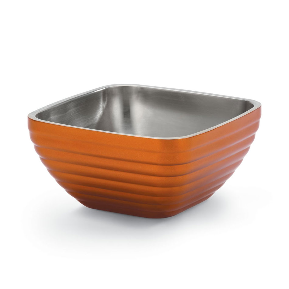 Vollrath 47619-10 .75-qt Square Insulated Bowl - Stainless, Metallic Tangelo