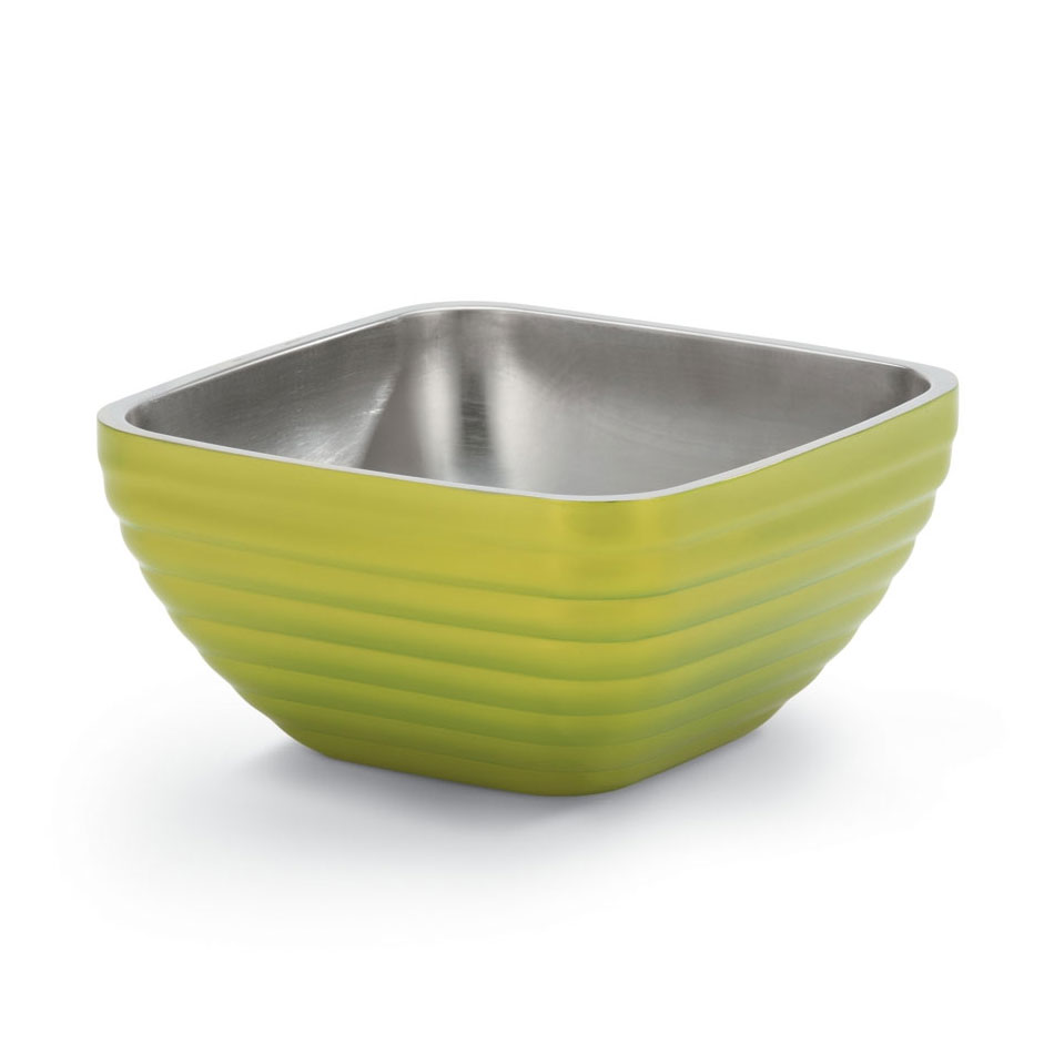 Vollrath 47632-30 1.8-qt Square Insulated Bowl - Stainless, Lemon-Lime