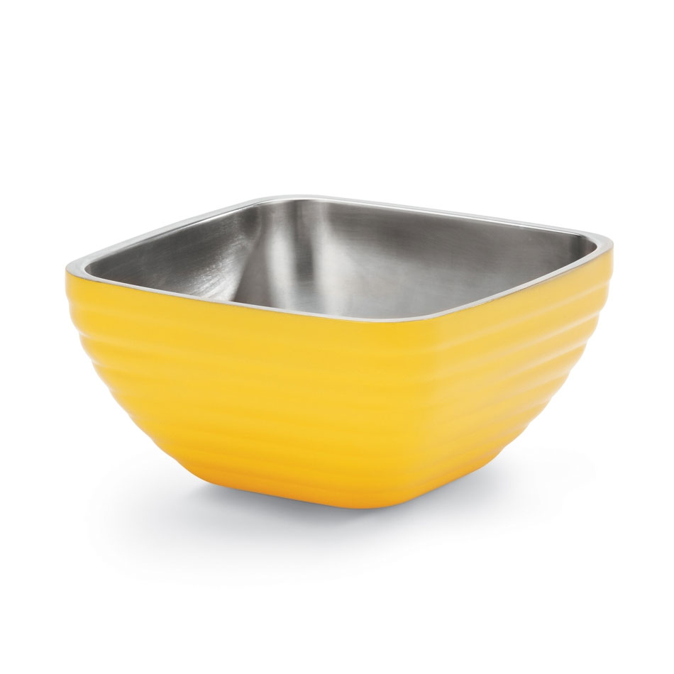 Vollrath 47632-45 1.8-qt Square Insulated Bowl - Stainless, Nugget Yellow