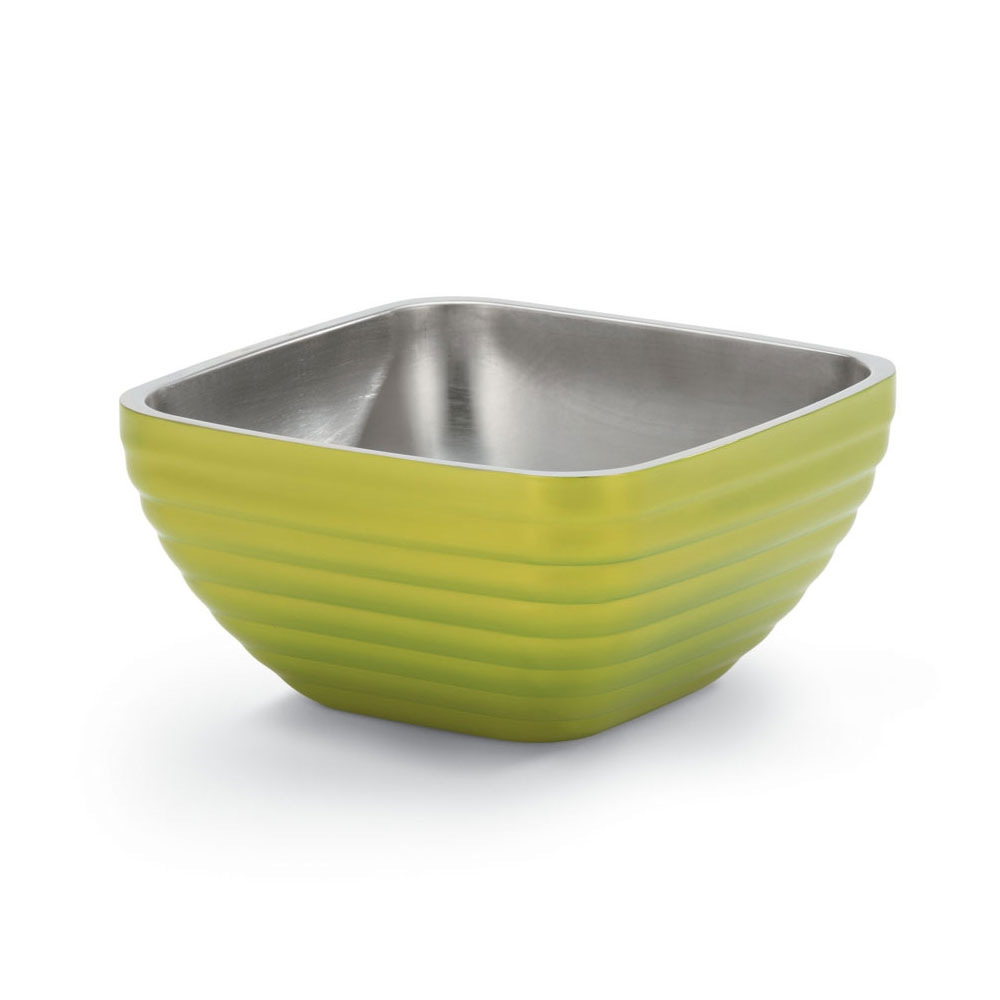 Vollrath 47634-30 3.2-qt Square Insulated Bowl - Stainless, Lemon-Lime