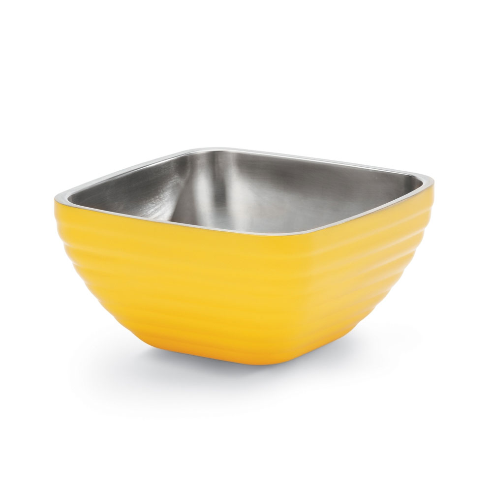 Vollrath 47634-45 3.2-qt Square Insulated Bowl - Stainless, Nugget Yellow
