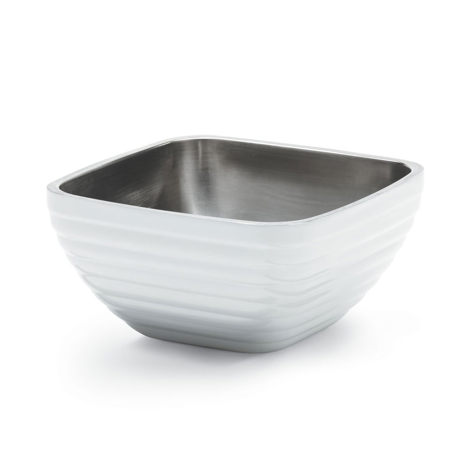 Vollrath 47637-50 8.2-qt Square Insulated Bowl - Stainless, Pearl White
