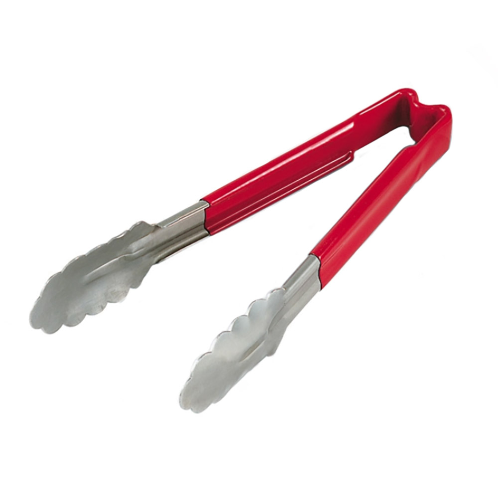 "Vollrath 4780940 9-1/2"" Utility Tong - Stainless, Red"