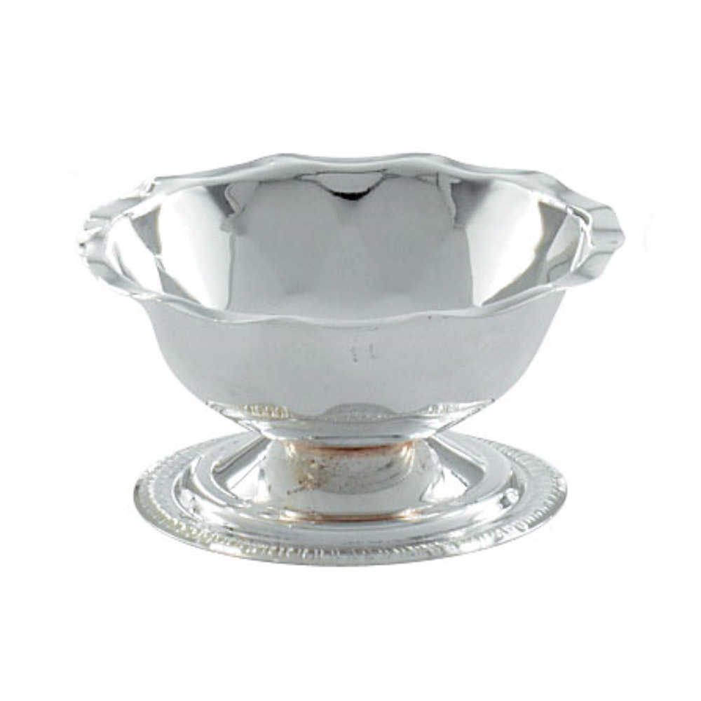 Vollrath 48313 3-1/2-oz Sherbet Dish - Paneled and Scalloped Top, Silverplated