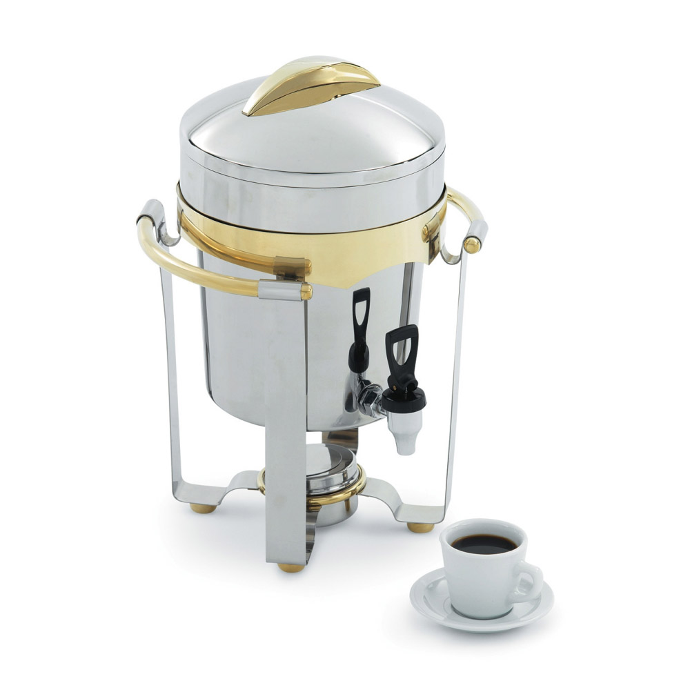 Vollrath 48328 11.6-qt Coffee Urn - 24K Gold Accent, Mirror-Finish Stainless