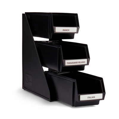 "Vollrath 4843-06 3-Tier Condiment Self-Serve System Set - (3) 11-1/4"" Bins - Plastic, Black"
